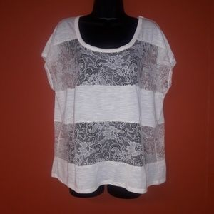 Torrid white cotton and sheer lace top